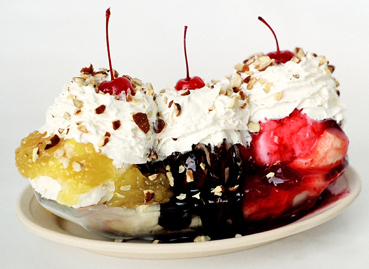 Banana Split for Ice Cream Parlor advertising
