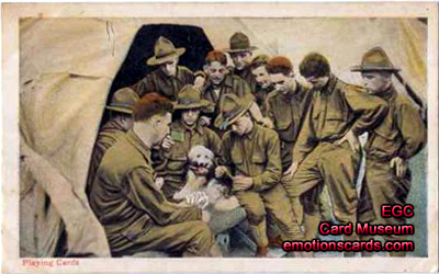 Playing cards in postcards postcard museum by emotions greeting ww1 postal card and novelty co ny bookmarktalkfo Image collections